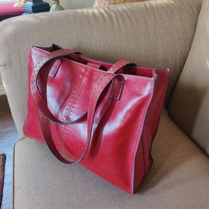 Fossil Leather Red Large Tote Bag